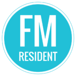 """Teal logo circle with """"FM Resident"""""""
