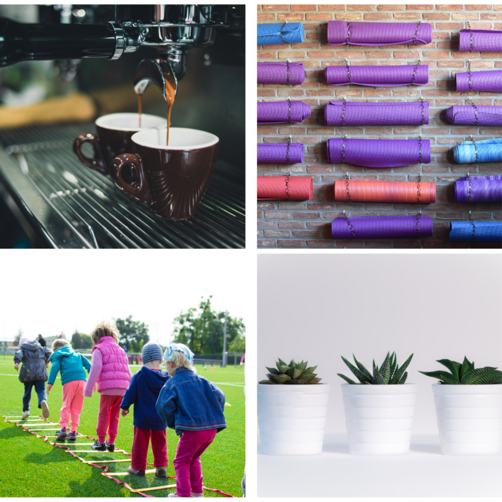 Images of espresso, yoga, succulents and babysitting - as gifts for doctors, interns and residents