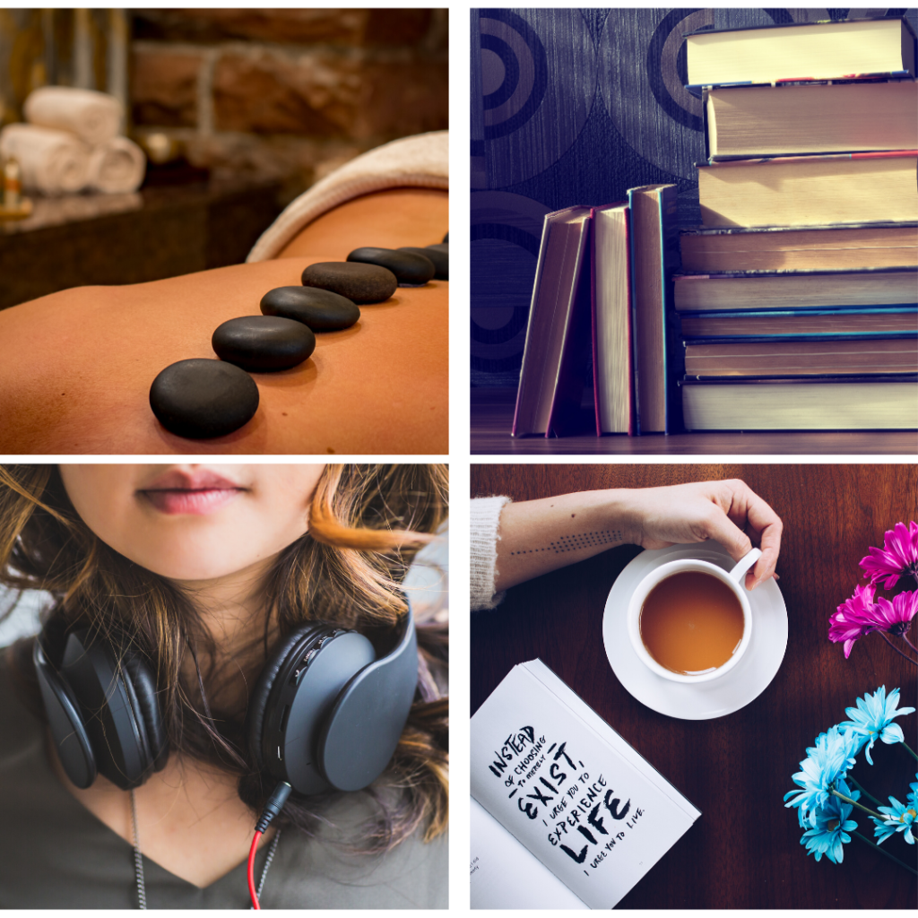 Images of massage, books, audiobooks, tea and planners - as gifts for doctors, interns and residents