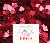"""Hearts in background, """"How to Read EKGs"""" overlying"""